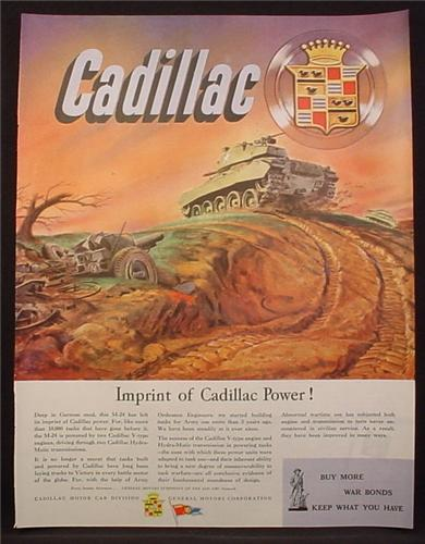 Magazine Ad For M-24 Tank, Use 2 Cadillac Engines, WWII, 1945