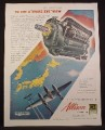 Magazine Ad For P-38 Lightning Airplanes, Allison Engines, WWII, 1945