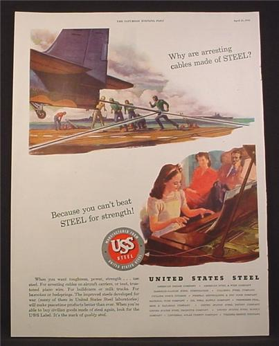 Magazine Ad For United States Steel, Arresting Cables on Aircraft Carrier, WWII, 1945