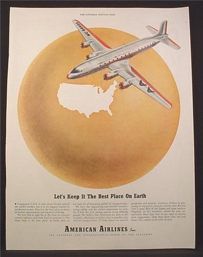 Magazine Ad For American Airlines, Flagship, Let's Keep It The Best Place On Earth, WWII, 1945