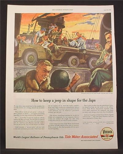 Magazine Ad For Veedol Motor Oil, How To Keep A Jeep In Shape For The Japs, WWII, 1945