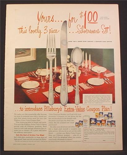 Magazine Ad For Rogers Silverplate Lady Ann Pattern Coupon Plan Offer by Pillsbury, 1949