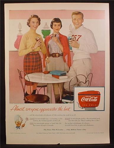 Magazine Ad For Coca-Cola Coke, Teenagers At The Soda Shop, Dispenser, Coke Fairy, 1955