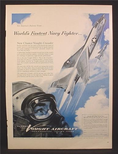 Magazine Ad For Chance Vaught Crusader U.S Navy Fighter Jet, Recruitment, 1955