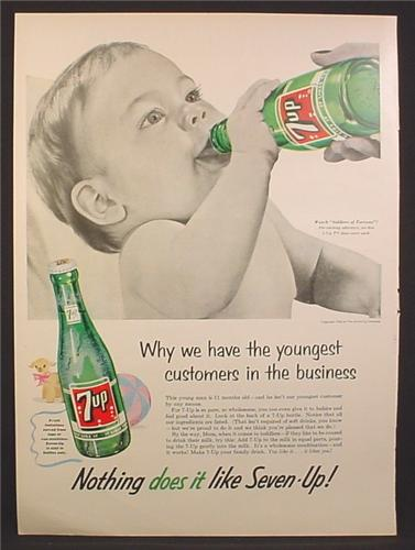 Magazine Ad For 7Up Seven-Up, Baby Guzzling a Bottle, Youngest Customers, 1955