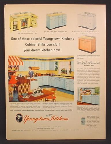 Magazine Ad For Youngstown Kitchens, Steel Cabinets & Sinks, 1955