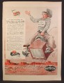 Magazine Ad For Raytheon TV  & Radios, Cowboy Riding a Bucking TV Set, Serviceman, 1955