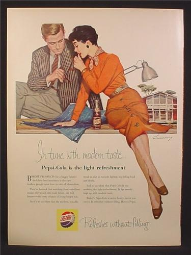 Magazine Ad For Pepsi, Pepsi-Cola, Sexy Woman Inspects Blueprints with a Man, 1955