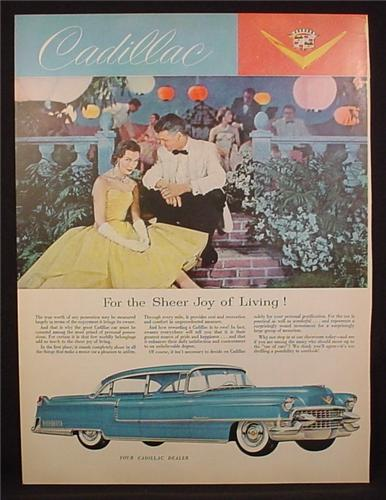 Magazine Ad For Cadillac Car, Blue, Side & Front View, Couple At A Dressy Dance, 1955