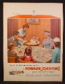 Magazine Ad For Howard Johnson's Restaurant, Family with Baby in Highchair, 1955