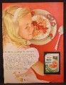 Magazine Ad For Kellogg's Rice Krispies Cereal, Little Girl Listens To Crispness, 1955
