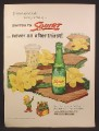 Magazine Ad For Squirt Soft Drink, Bottle & Flowers, Carton of Bottles, 1955