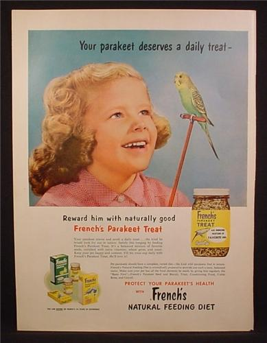 Magazine Ad For French's Parakeet Treat, Girl with Parakeet Bird on Perch, 1956