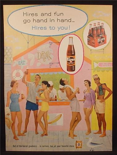 Magazine Ad For Hires Root Beer, Bottles, Cardboard Six Pack Carton, Drink Stand, 1956