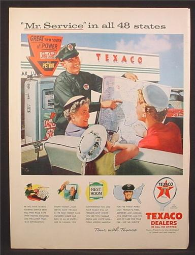 Magazine Ad For Texaco Dealers, Service Station, Gas Pump, Attendant Giving Directions, 1956