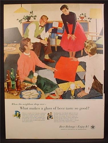 Magazine Ad For Beer Belongs, Number 118, Do-It Yourself Decorators, Pruett Carter, 1956