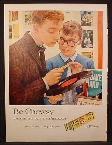 Magazine Ad For Beech-Nut Gum, Be Chewsy, Beech Nut, Teens in Record Shop, 1957