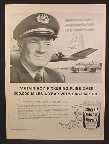Magazine Ad For Sinclair Extra Duty Triplex Motor Oil, American Airlines Pilot, N90742, 1957