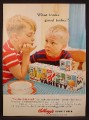 Magazine Ad For Kellogg's Variety Pack Cereal, Sugar Pops, Frosted Flakes, Pep, 1957