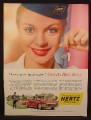 Magazine Ad For Hertz Rent A Car, Woman with Hertz Hat & Keys, Drive It As Your Own, 1957