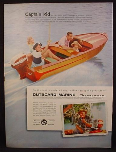 Magazine Ad For Outboard Marine Motor, Boy in Pirate Hat Driving Wood Boat, 1957