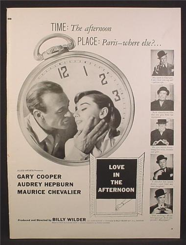 Magazine Ad For Love In The Afternoon Movie, Gary Cooper, Audrey Hepburn, Poster, 1957