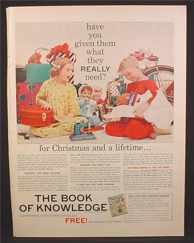 Magazine Ad For Book Of Knowledge Set, Kids With Gifts, What They Really Need, 1957