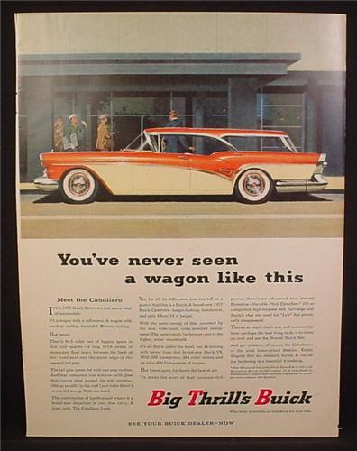 Magazine Ad For Buick Century Catalina Station Wagon Car, White & Red, Side View, 1957