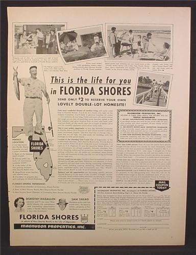 Magazine Ad For Florida Shores Real Estate Offer, Double Lot Homesite, 1959
