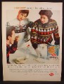 Magazine Ad For Post Alpha-Bits Cereal, People in Ski Sweaters, Pointing at HURRY on Table, 1959