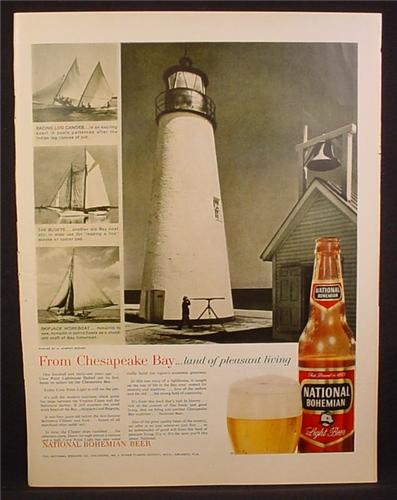 Magazine Ad For National Bohemian Light Beer, From Chesapeake Bay, Lighthouse, 1959