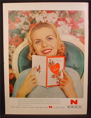 Magazine Ad For Norcorss Greeting Cards, Valentines Day, Girl with Dreamy Smile, 1959