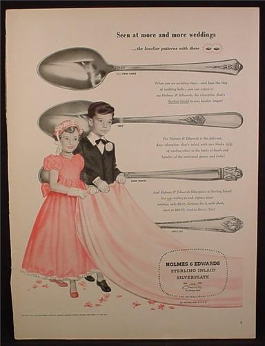 Magazine Ad For Holmes & Edwards Sterling Inlaid Silverplate Silverware, Danish Prince, 1950