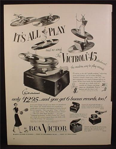 Magazine Ad For RCA Victor Victrola 45 Record Player, 1950