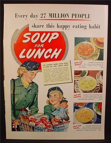 Magazine Ad For Campbell's Soups, Mother & Daughter in Matching Outfits, Tartan Tam Hat, 1950