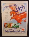 Magazine Ad For Mobilgas Special, Flying red Horse, Gas Pumps, Flying Horsepower, 1950