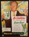 Magazine Ad For Green Giant Peas & Corn, Art Linklater, Celebrity Endorsement, 1950