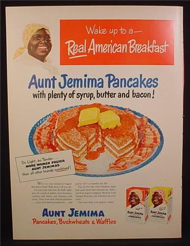 Magazine Ad For Aunt Jemima pancakes, Wake Up To A Real American Breakfast, 1950