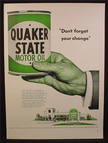 Magazine Ad For Quaker State Motor Oil, Don't Forget Your Change, Large Can, 1950