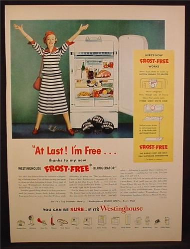 Magazine Ad For Westinghouse Frost-Free Refrigerator, At Last I'm Free, Woman in Stripes, 1950
