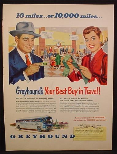 Magazine Ad For Greyhound Bus Lines, Couple Holding Tickets, Side View Of Bus, 1952