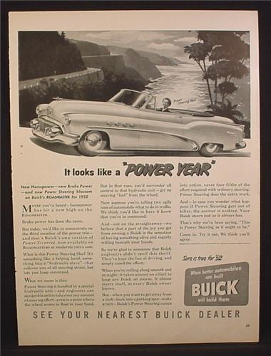 Magazine Ad For Buick 8 Roadmaster Car, Power Year, Brakes & Steering, 1952
