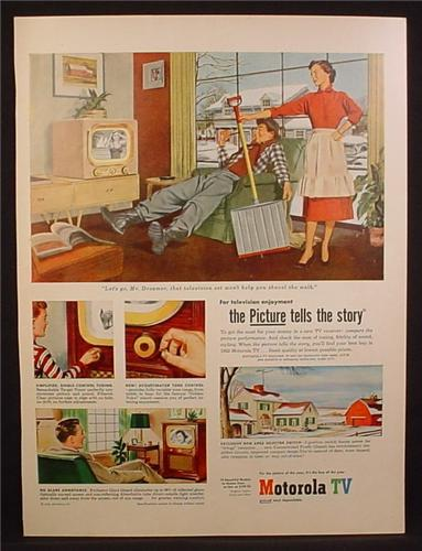 Magazine Ad For Motorola TV Television, Wife Hands Husband a Shovel As He Watches TV, 1952