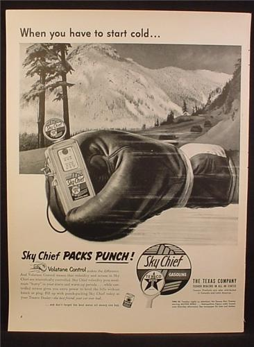 Magazine Ad For Sky Chief Gasoline Packs A Punch, Gas Pump In Boxing Glove, 1953