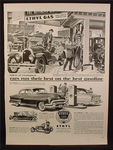 Magazine Ad For Ethyl Gasoline Gas, Old Style Visible Pumps & 1953 Pumps, 1953