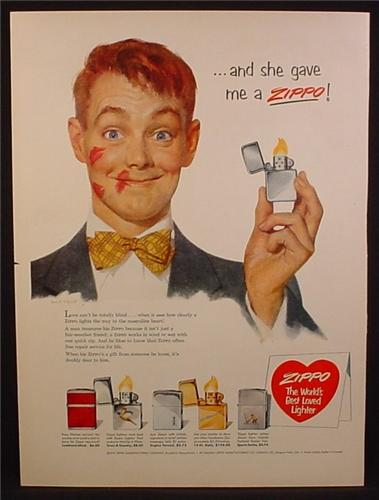 Magazine Ad For Zippo Lighters, Guy with Lipstick On His face, And She Gave Me A Zippo, 1953
