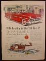 Magazine Ad For Ford Crestline Car, Red with tan roof, Front & Side View, 1953