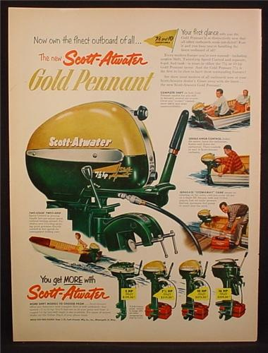 Magazine Ad For Scott-Atwater OutBoard Motor, 4 Models Shown, 1953