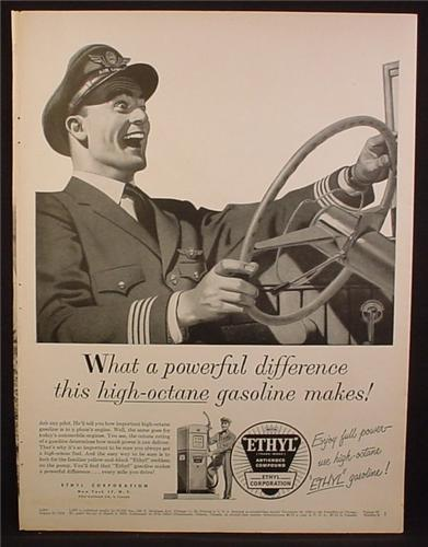 Magazine Ad For Ethyl Gasoline Gas, Pilot with Freaky Smile Driving A Car, 1954