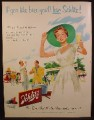 Magazine Ad For Schlitz Beer, Woman in White Dress & Large Hat, No Harsh Bitterness, 1954